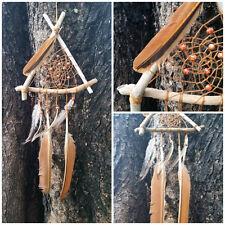 HANDMADE Driftwood Emu & Eagle Feathers Bead Hippy Hippie Dream Catcher 31x67cm
