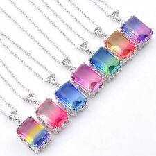 7 pcs 1 Lot Rectangle Mystical BI-COLORED Tourmaline Silver Necklace Pendants