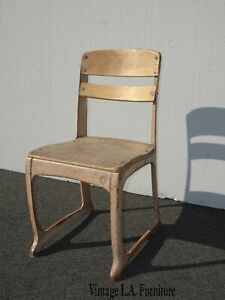 Vintage French Country Metal School House Side Chair by American Seating Co. USA