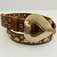 CHICOS WESTERN STUDDED BROWN LEATHER BELT HAMMERED HEART BUCKLE WOMENS M/L