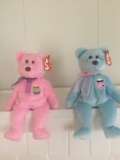 Ty Beanie Baby Eggs and Eggs II Pink and Blue Bear 2000 and 2001