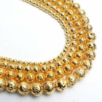 Natural Gold Hematite Stone Beads for Jewelry Making Lava Rock Beads Strand 15''