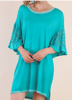 BLUHEAVEN BY UMGEE Mineral Washed Ruffled Floral Lace Sleeves Tee Dress/Tunic S