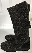 Women's UGG Australia Bailey Button Knitted Black & Gold Boots Size 9