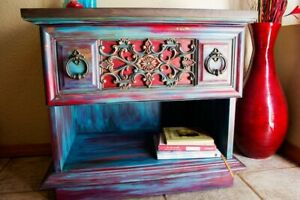 Vintage Teel & Red Night Stand/End Table