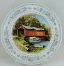 VINTAGE PLATE AMERICANA COUNTRY & NATURE BARN SCENIC FLOWER GARLAND RIM USA MADE