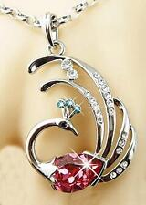 White Gold Filled AAA CZ Fancy Peacock Pendant & Necklace JD-045