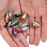 Lot 10Pcs Fishing Lures Kinds Of Minnow Fish Bass Tackle Hooks Baits Crankbait