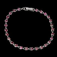 Sterling Silver Genuine Natural Round Cut Pink Tourmaline Bracelet 7 1/2 Inch