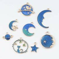Bulk! 8PCS Blue Moon&Star&Cat Enamel Charm Pendant For DIY Jewelry Making Craft