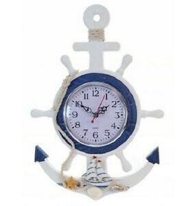 Anchor Ships Wheel Clock * Coastal Nautical Seaside Design * Wall Hanging