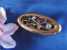 Pierre Lang Brosche Emaille Emaile Blätter vergoldet Blätterbrosche / Art. M 459