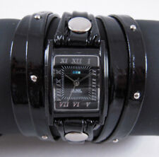 LA MER Watch Blk Patent Stud Layer Leather Wrap