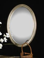 Oval Wall Vanity Mirror Antique Silver Leaf Finish