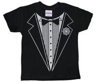 Kids youth toddler size black Tuxedo design funny tee shirt tux t-shirt 2T 3T 4T