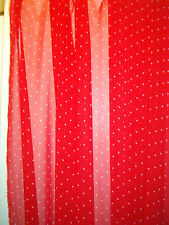 COUPE TISSU MOUSSELINE POLYESTER FOND ROUGE PETITS POIS BLANC