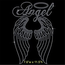 Angel with Long Wings Rhinestone / Diamante Transfer Hotfix Iron on Motif