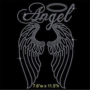 Angel with Long Wings Rhinestone / Diamante Transfer Hotfix Iron on Motif