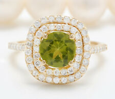 3.23CTW Natural Green Peridot and DIAMOND in 14K Solid Yellow Gold Women Ring
