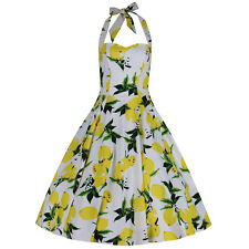 Lemon Yellow Halterneck Pinup 50s Rockabilly Summer Party Cotton Swing Dress