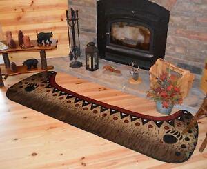 2X8 Cabin Lodge Bear Fish Canoe Oars Black Red Beige Brown Green Runner Rug Boat