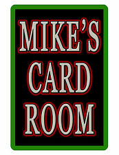 PERSONALIZED CARD ROOM SIGN YOUR NAME DURABLE ALUMINUM NO RUST FULL COLOR CR#022