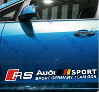 A Pair ☆RS☆ Car Side Door Body Sticker Decal Graphics Strips For Audi(White)