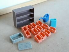 1/18 scale garage diorama accessories: sorting boxes, oil can, watering can