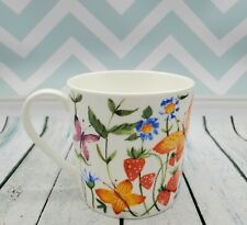 Rose of England Fine Bone China Floral Mug with Butterflies & Strawberries - NEW