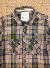 WEIRD FISH Small, Brown Flannel Plaid Check Lumberjack Shirt.