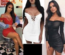 Women Bardot Off Shoulder Mini Bodycon Dress Evening Party Cocktail Ruched Sheer