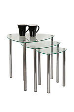 Arena Stylish Set of 3 Clear Glass Nesting Tables/Side Table/Coffee Table-GNT06C