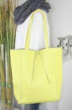 Italy bolso funda de cuero real de piel henkel Shopper Bag lemongelb h/m -