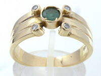 Goldring Ring bague 585 GOLD 14 Karat Brillanten Diamanten diamonds Smaragd oro