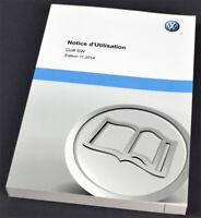 VW Volkswagen Golf SW Owners Manual / français Notice d'Utilisation 2014