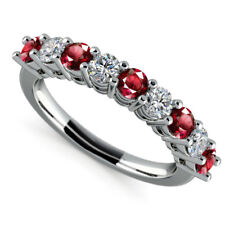 Fine 14K White Gold Rings 0.97CT Red Ruby Gemstone Diamond Ring Size N, M 1/2