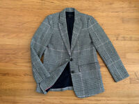 $228 J.Crew Houndstooth blazer Womens sz 0 black white pink tweed blazer