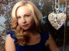 The Vampire Diaries Caroline Forbes Necklace Silver Heart Vervain Locket NEW