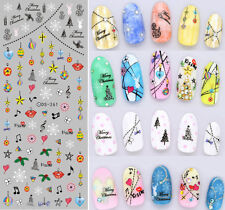 Christmas Nail Art Water Decals Transfers Snowflakes Baubles Gel Polish (261)