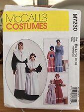 McCalls Costume Pattern M7230 - Colonial Dresses, Pilgrim - Girls 10-12