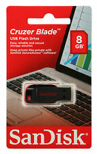 NEW SanDisk 8GB USB Flash Drive Cruzer Blade Pen Thumb Memory RETAIL Packaging