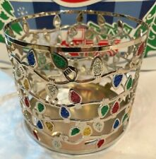 NEW BATH & BODY WORKS SHIMMER CHRISTMAS LIGHTS LARGE CANDLE HOLDER  3 WICK