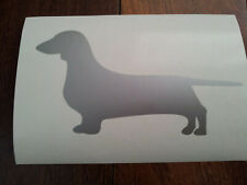 Dachshund Silhouette (Silver) Car / Laptop Sticker, Decal