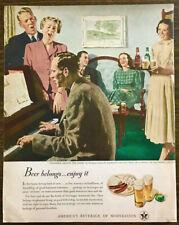 1949 US Brewers Fdn Print Ad Enjoy Beer Douglass Crockwell Art Around the Piano