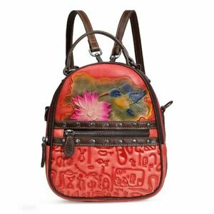Women Genuine Cow Leather Backpack Shoulder Bag Handbag Purse Flower Red Small