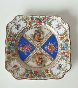 SCHUMANN Bavaria Square Gilt floral Plate Romantic Scenes Vintage
