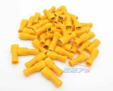 100x Fully Insulated Yellow Female Electrical Spade Crimp Connector Terminals
