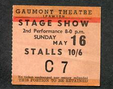 Original 1965 Kinks Yardbirds Jeff Beck concert ticket stub Gaumont Ipswich UK