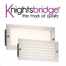 Knightsbridge 230V IP54 5W White LED Garden Outdoor Brushed Steel Brick Light