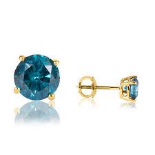 1.00 Carat Single Sud Men's Blue Enhanced Dimaond Earring Set In 14k Yellow Gold